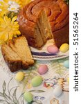 """Small photo of view of a traditional """"folar"""" cake on the a portuguese table."""