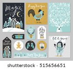 christmas card set  hand drawn... | Shutterstock .eps vector #515656651