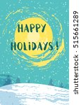 happy holidays card with winter ... | Shutterstock .eps vector #515661289