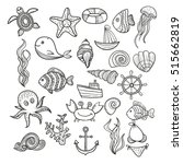 illustration vector doodle set...
