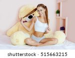 young beautiful  girl at bed.   ... | Shutterstock . vector #515663215