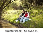 girl and boy sitting and... | Shutterstock . vector #51566641