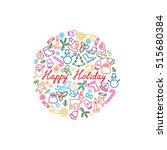 christmas background. doodle... | Shutterstock .eps vector #515680384