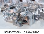 Small photo of Metal products made by casting techniques closeup. Industry