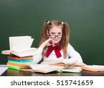 young girl with books near... | Shutterstock . vector #515741659