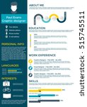 resume in flat style design on... | Shutterstock .eps vector #515745511