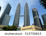 Small photo of Kuala Lumpur, Malaysia -January 7, 2016: Petronas Twin Towers. View from KLCC. Park The skyscraper height is 451.9 m, 88 floors