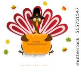 happy thanksgiving turkey | Shutterstock .eps vector #515751547
