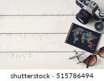 overhead view of traveler's... | Shutterstock . vector #515786494