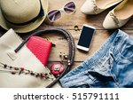 travel clothing accessories... | Shutterstock . vector #515791111