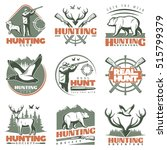 nine isolated hunting emblems... | Shutterstock .eps vector #515799379
