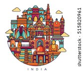 india detailed skyline. travel... | Shutterstock .eps vector #515820961