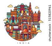 india detailed skyline. travel... | Shutterstock .eps vector #515820961
