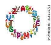 cartoon alphabet round frame on ... | Shutterstock .eps vector #515826715