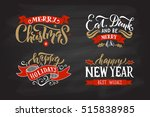 typography merry christmas  ... | Shutterstock .eps vector #515838985
