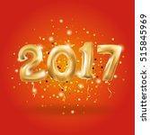 metallic gold letter balloons... | Shutterstock . vector #515845969