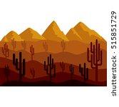 isolated desert landscape design | Shutterstock .eps vector #515851729