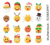 set of christmas emoticons... | Shutterstock .eps vector #515853997