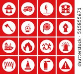 firefighter icons  mono vector...