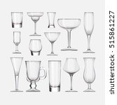 set of cocktail stemware and... | Shutterstock .eps vector #515861227