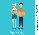 young couple makes donations.... | Shutterstock .eps vector #515863771