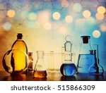 test glass flask with solution... | Shutterstock . vector #515866309