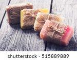 handmade natural soap on wooden ... | Shutterstock . vector #515889889