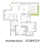 furniture is on architect plan ... | Shutterstock . vector #51589219