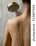 Small photo of Onsen series : Closeup of Asian woman taking shower in bathroom