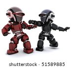 3D render of a pair of robots in conflict - stock photo
