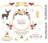 vintage gold christmas elements | Shutterstock .eps vector #515902531