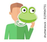 man without face with frog mask ... | Shutterstock .eps vector #515904751