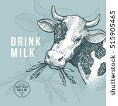 farm cow design template. milk... | Shutterstock .eps vector #515905465