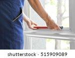 construction worker installing... | Shutterstock . vector #515909089