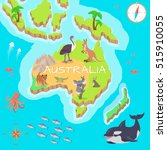 australia isometric map with... | Shutterstock .eps vector #515910055