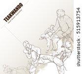 illustration of teakwando. hand ... | Shutterstock .eps vector #515913754