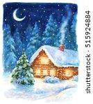 christmas night landscape ... | Shutterstock . vector #515924884
