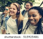 diverse group people hanging... | Shutterstock . vector #515925481