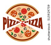 pizza logo with salami  sausage ... | Shutterstock .eps vector #515929759