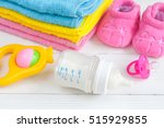 baby bottle with milk and towel ... | Shutterstock . vector #515929855