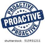 proactive stamp.  blue round... | Shutterstock .eps vector #515931211