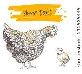 illustration little chicken and ... | Shutterstock .eps vector #515939449