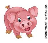 Cartoon Happy Pig Is Standing...