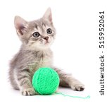 Stock photo kitten with ball of yarn isolated on white background 515952061