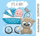 greeting card its a boy with... | Shutterstock .eps vector #515954755