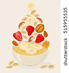 porridge oats in bowl with... | Shutterstock .eps vector #515955535