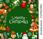 merry christmas greeting poster ... | Shutterstock .eps vector #515962981