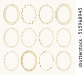 set of golden oval hand drawn... | Shutterstock .eps vector #515968945