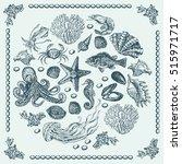 graphic sea decorative... | Shutterstock .eps vector #515971717