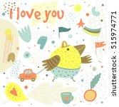 cute hand drawn card  postcard... | Shutterstock .eps vector #515974771